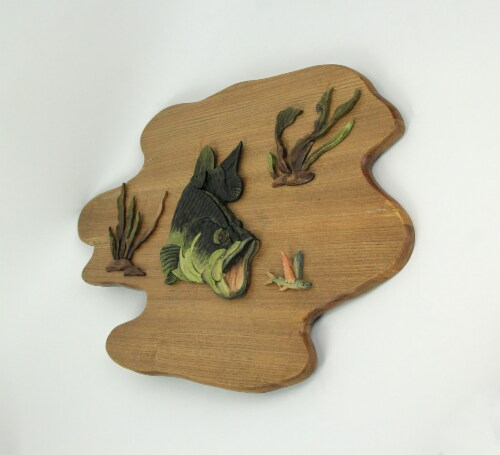 Hand Carved Wood Bass Wall Plaque Fish Home Lodge Decor Art Cabin Decoration Perspective: back