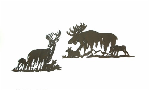 Set of Moose And Deer Family Brown Metal Laser Cut Wall Art Home Lodge Decor Perspective: back