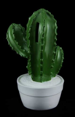 Glossy Green Cactus In White Pot Coin Bank Perspective: back