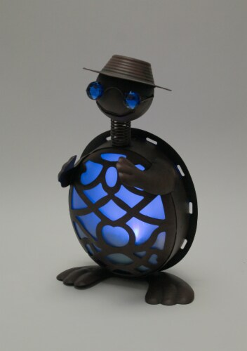 Rustic Metal Turtle in Hat and Sunglasses Solar Powered LED Light Garden Statue - Blue Perspective: back