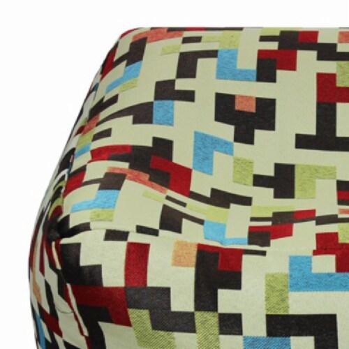 Saltoro Sherpi Fabric Pouf Ottoman,Multicolored Perspective: back
