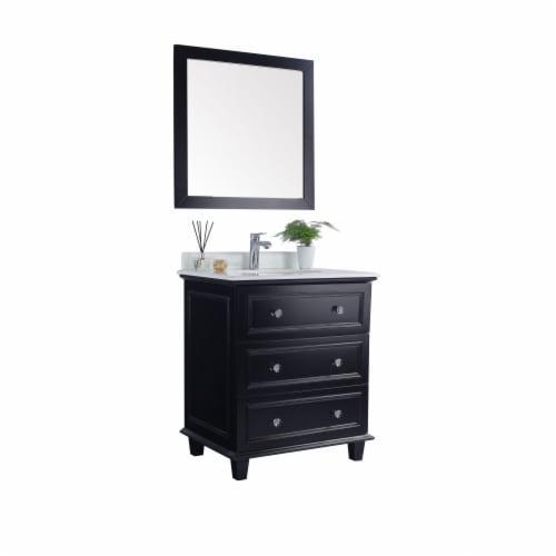 Luna - 30 - Espresso Cabinet + Pure White Phoenix Stone Countertop Perspective: back