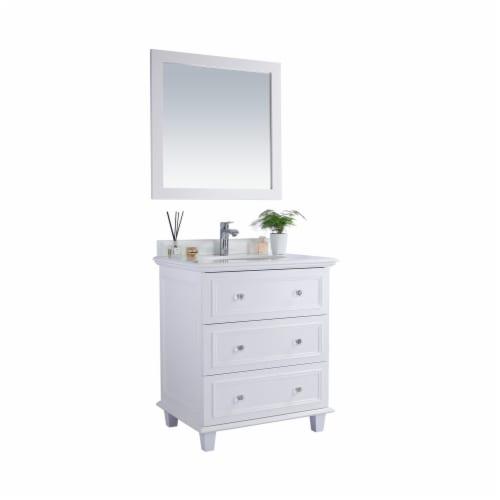 Luna - 30 - White Cabinet + Pure White Phoenix Stone Countertop Perspective: back