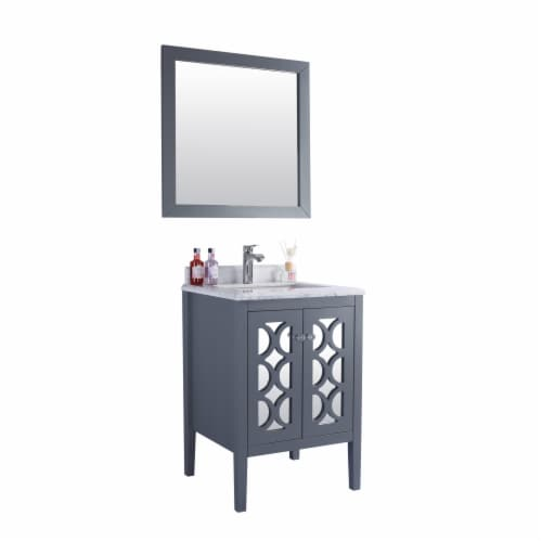 Mediterraneo - 24 - Grey Cabinet + White Carrara Marble Countertop Perspective: back