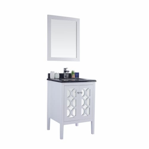 Mediterraneo - 24 - White Cabinet + Black Wood Marble Countertop Perspective: back