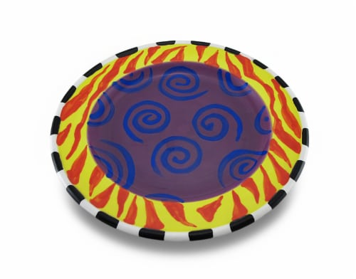 Set of 4 Whimsical Colorful Ceramic Salad / Dessert Plates 9 in. Perspective: back