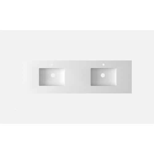 """VIVA Stone 72"""" Double Sink Matte White - Solid Surface Countertop Perspective: back"""