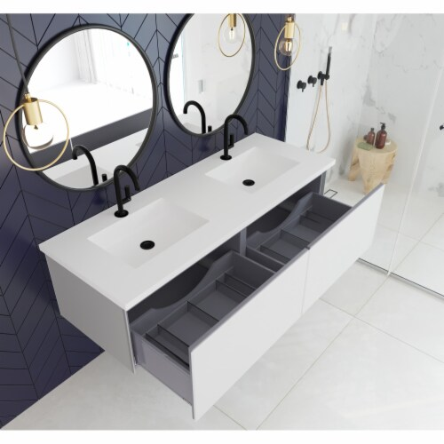 Vitri 60 - Cloud White Double Sink Cabinet Perspective: back