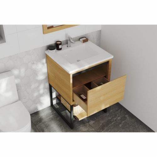 Alto 24 - California White Oak Cabinet + Matte White VIVA Stone Solid Surface Countertop Perspective: back