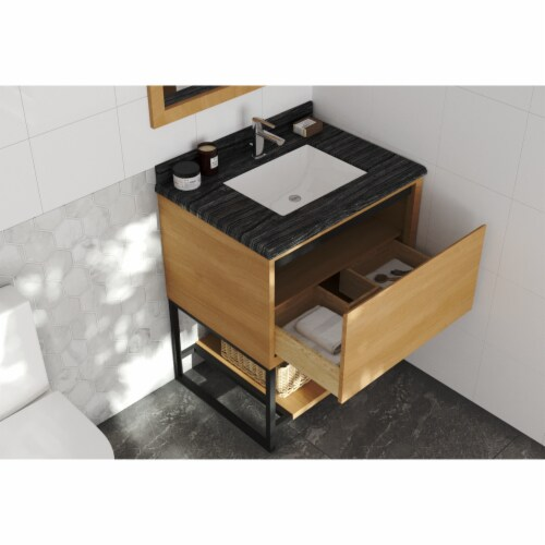 Alto 30 - California White Oak Cabinet + Black Wood Marble Countertop Perspective: back