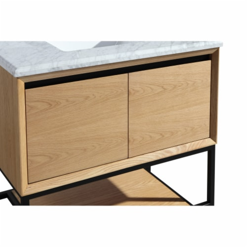 Alto 36 - California White Oak Cabinet + White Carrara Marble Countertop Perspective: back