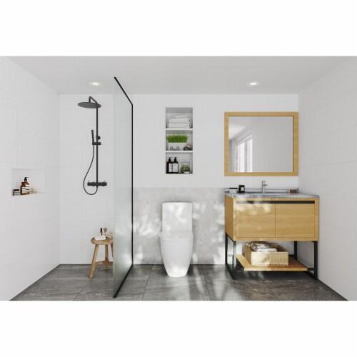 Alto 36 - California White Oak Cabinet + White Stripes Marble Countertop Perspective: back