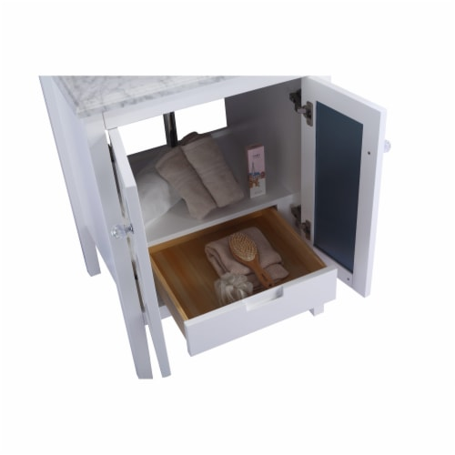 Mediterraneo - 24 - White Cabinet + Matte Black VIVA Stone Solid Surface Countertop Perspective: back