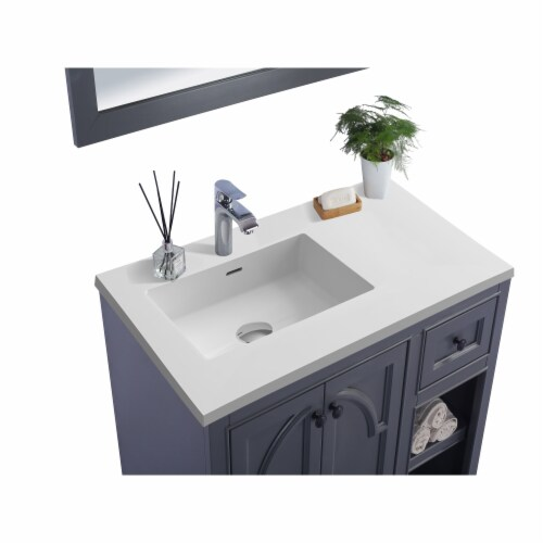 Odyssey - 36 - Maple Grey Cabinet + Matte White VIVA Stone Solid Surface Countertop Perspective: back