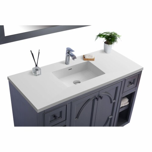 Odyssey - 48 - Maple Grey Cabinet + Matte White VIVA Stone Solid Surface Countertop Perspective: back