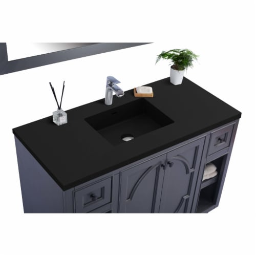 Odyssey - 48 - Maple Grey Cabinet + Matte Black VIVA Stone Solid Surface Countertop Perspective: back