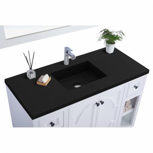 Odyssey - 48 - White Cabinet + Matte Black VIVA Stone Solid Surface Countertop Perspective: back