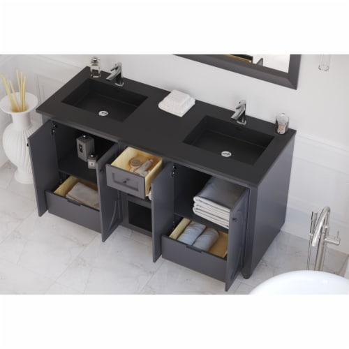Odyssey - 60 - Maple Grey Cabinet + Matte Black VIVA Stone Solid Surface Countertop Perspective: back