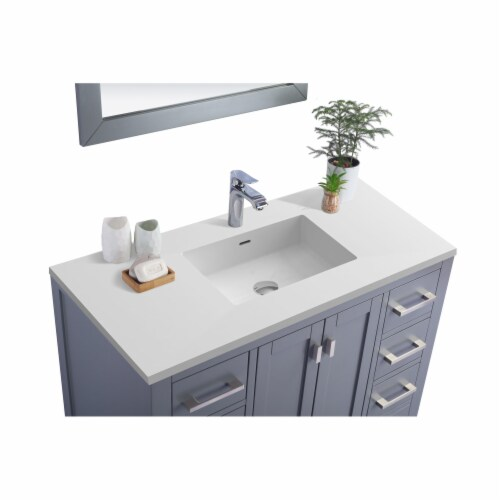 Wilson 42 - Grey Cabinet + Matte White VIVA Stone Solid Surface Countertop Perspective: back