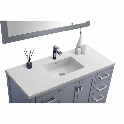 Wilson 48 - Grey Cabinet + Matte White VIVA Stone Solid Surface Countertop Perspective: back
