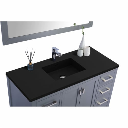 Wilson 48 - Grey Cabinet + Matte Black VIVA Stone Solid Surface Countertop Perspective: back