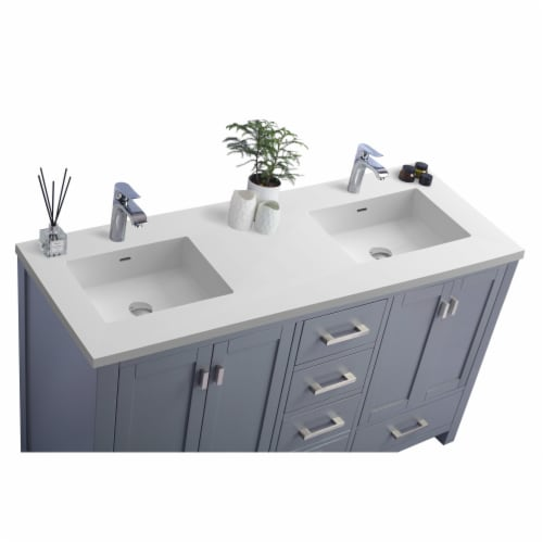 Wilson 60 - Grey Cabinet + Matte White VIVA Stone Solid Surface Countertop Perspective: back