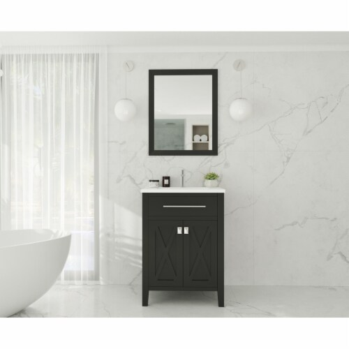 Wimbledon - 24 - Espresso Cabinet + Matte White VIVA Stone Solid Surface Countertop Perspective: back