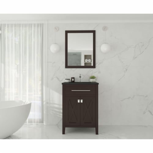 Wimbledon - 24 - Brown Cabinet + Matte Black VIVA Stone Solid Surface Countertop Perspective: back