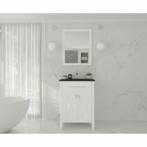 Wimbledon - 24 - White Cabinet + Matte Black VIVA Stone Solid Surface Countertop Perspective: back