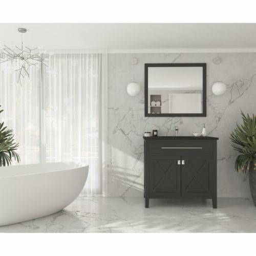Wimbledon - 36 - Espresso Cabinet + Matte Black VIVA Stone Solid Surface Countertop Perspective: back