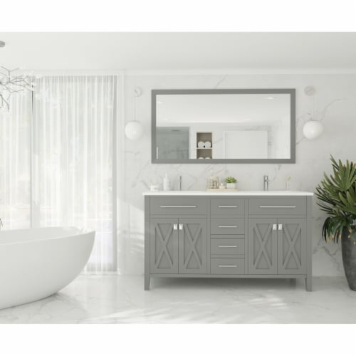 Wimbledon - 60 - Grey Cabinet + Matte White VIVA Stone Solid Surface Countertop Perspective: back