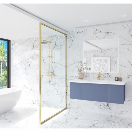 Vitri 48 - Nautical Blue Cabinet + Matte White VIVA Stone Solid Surface Countertop Perspective: back