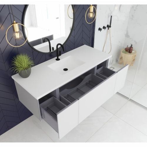 Vitri 54 - Cloud White Cabinet + Matte White VIVA Stone Solid Surface Countertop Perspective: back