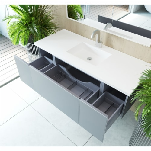 Vitri 54 - Fossil Grey Cabinet + Matte White VIVA Stone Solid Surface Countertop Perspective: back