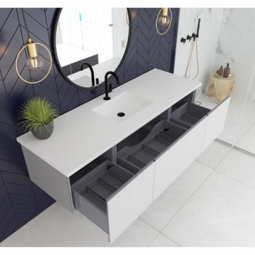 Vitri 66 - Cloud White Cabinet + Matte White VIVA Stone Solid Surface Countertop Perspective: back