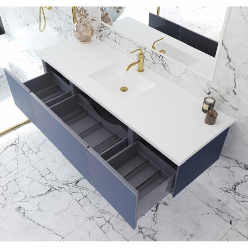 Vitri 66 - Nautical Blue Cabinet + Matte White VIVA Stone Solid Surface Countertop Perspective: back