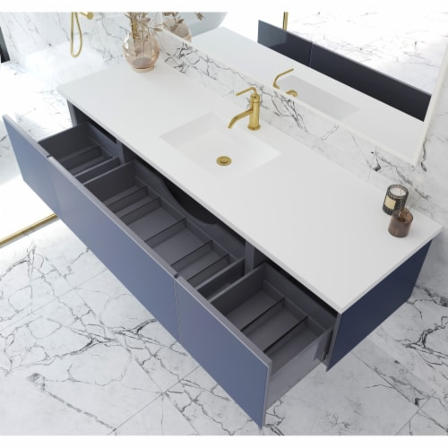 Vitri 72 - Single Sink Cabinet + Matte White VIVA Stone Solid Surface Center Sink Countertop Perspective: back