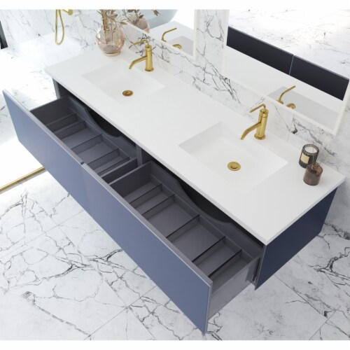 Vitri 72 - Double Sink Cabinet + Matte White VIVA Stone Solid Surface Double Sink Countertop Perspective: back
