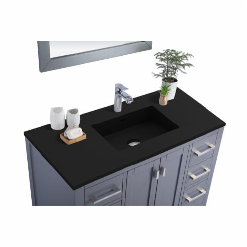 Wilson 42 - Grey Cabinet + Matte Black VIVA Stone Solid Surface Countertop Perspective: back