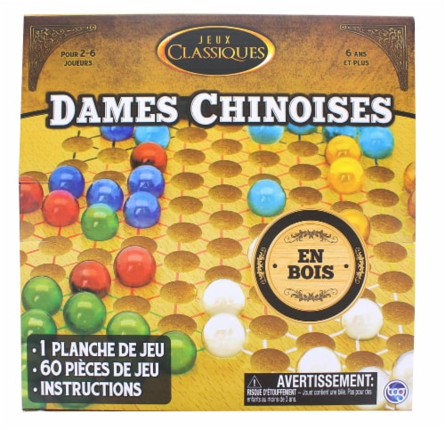 Classic Games Wood Chinese Checkers Set | Board & 60 Game Pieces Perspective: back