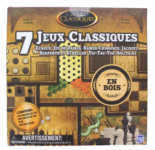 Classic Games Wood 7 Classic Games Set | 3 Boards & 150 Game Pieces Perspective: back