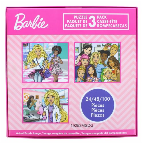 Barbie Jigsaw Puzzle 3 Pack |  24, 48, & 100 Pieces Perspective: back