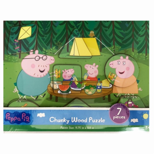 Peppa Pig Chuck Wood Puzzle (Assorted Styles) Perspective: back