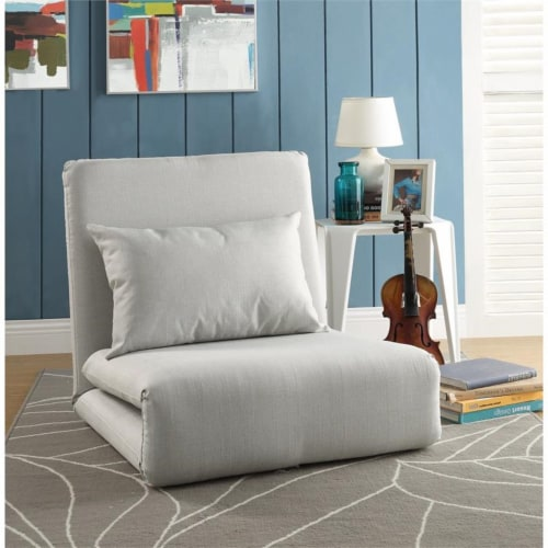Relaxie Floor Chairs Beige Linen Sleeper Dorm Bed Couch Lounger Sofa Perspective: back