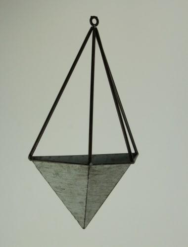 Galvanized Metal Diamond Shaped Angular Hanging Planters Set of 2 Perspective: back