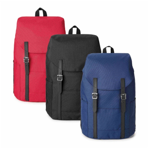 Marin Collection Backpack Blue, Bag exterior is made from 16 recycled bottles Perspective: back