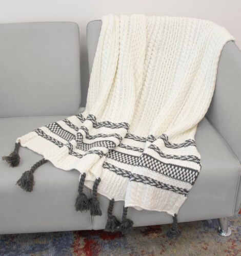 """Myne Throw Blanket With Fringe 50""""x60"""" White and Grey Perspective: back"""