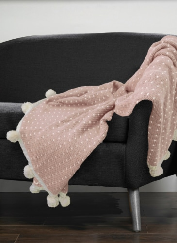 """Myne Throw Blanket With Pom Poms 50""""x60"""" Pink Perspective: back"""
