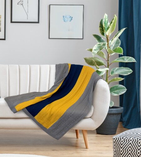 """Myne Throw Blanket Wide Stripe Design 50X60"""" Navy,Grey and Yellow Perspective: back"""