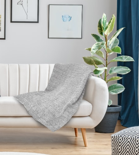 """Myne Throw Blanket Solid Grey Knit 50X60"""" Perspective: back"""